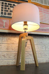 Scandinavian tripod lamp nautral tone wood