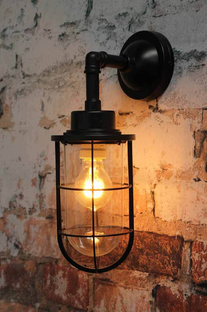 Seaway outdoor wall light in black. coastal industrial style