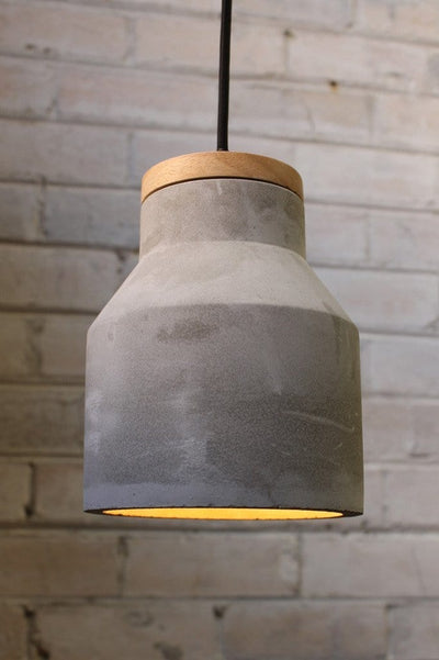 Small concrete timber pendant with concealed bulb
