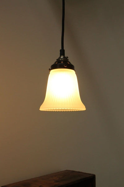 Small holophane glass shade. vintage style lighting. residential lighting solution