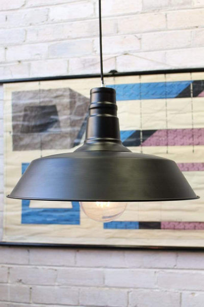 Station pendant light large black metal finish with white inner 2