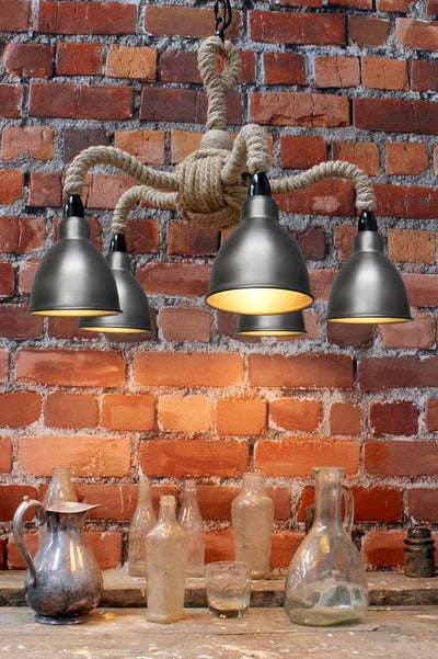 Steel five light rope pendant light