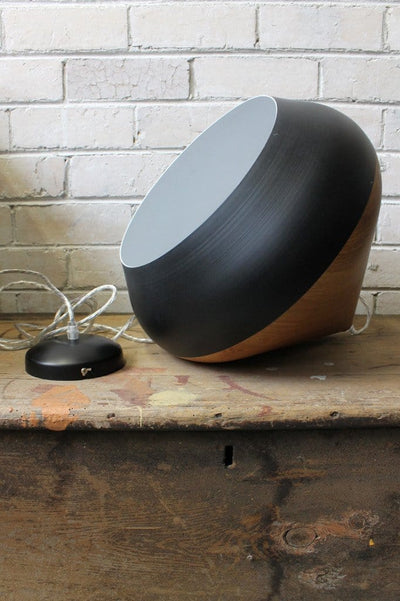 Stockholm ceiling light black metal with wood style top