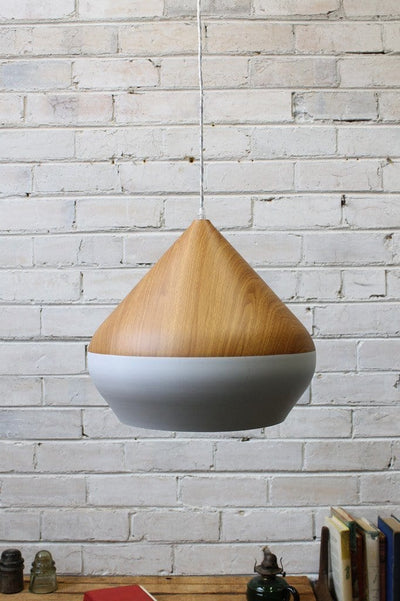 Stockholm ceiling light white metal with oak wood style top