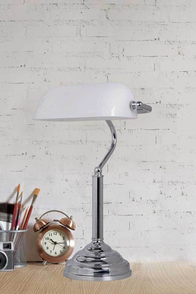 T118 bankers table lamp desk light vintage wht