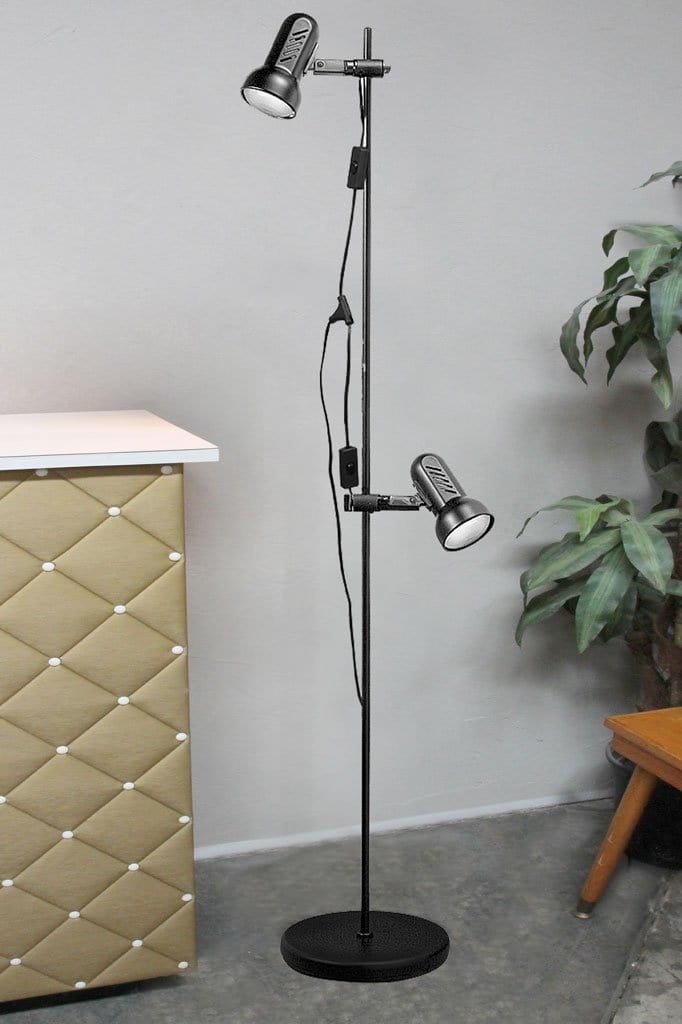 Tall black two light floor lamp