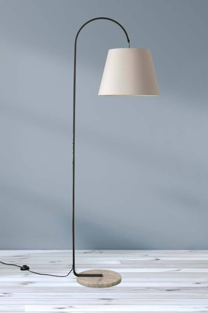 Picture of: Hobsons Marble Floor Lamp White Bell Shade Fat Shack Vintage