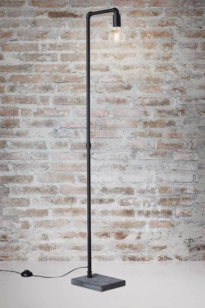Tall metal floor lamp with marble base