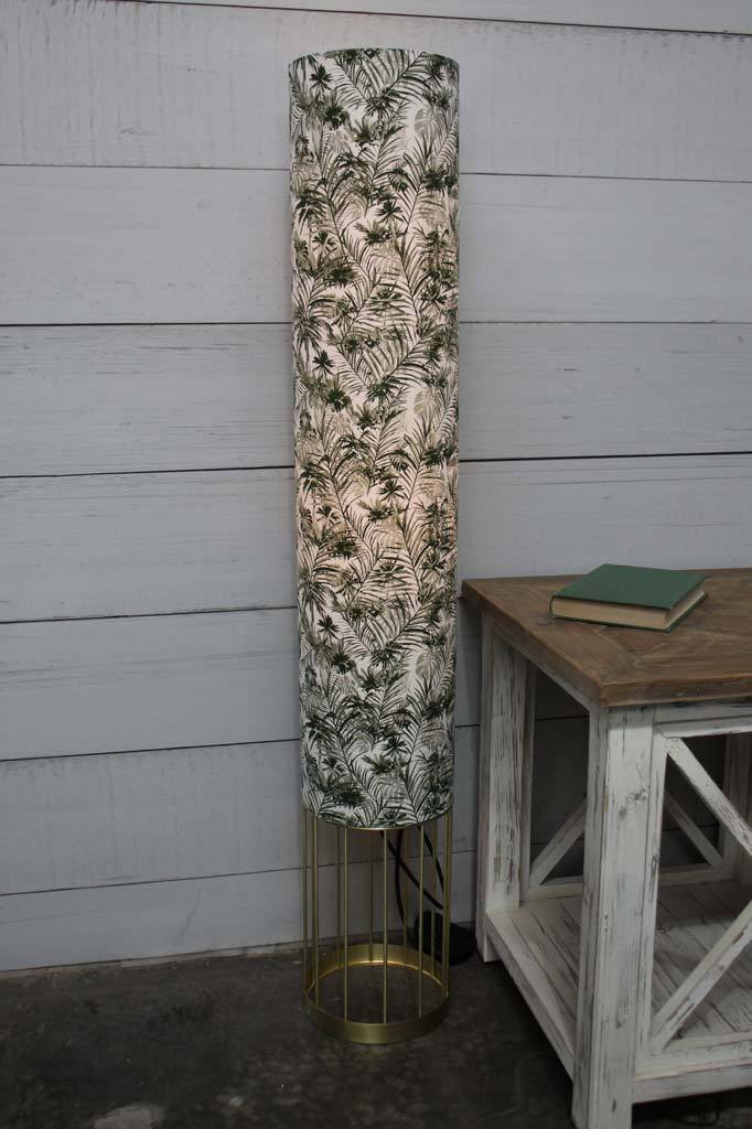 Tall tropical boho floor lamp white cotton cylindircal shade