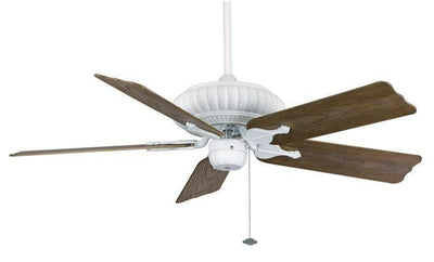 The belleria ceiling fan in white with all weather washed oak blades 5