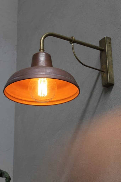 Copper Railway Outdoor Wall Light Copper Shade And Brass
