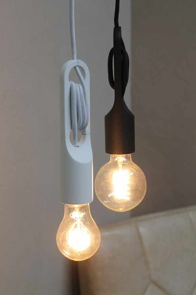 The cord pendant lamp has a black or white cloth cord with a 3.2 meter drop