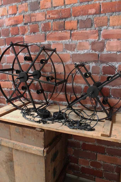 The steampunk drum light comes in two sizes. large drum cases six lights small drum cases four.