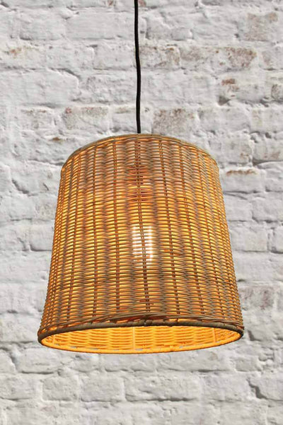 This wicker hanging light is made of cane with a natural tone finish.