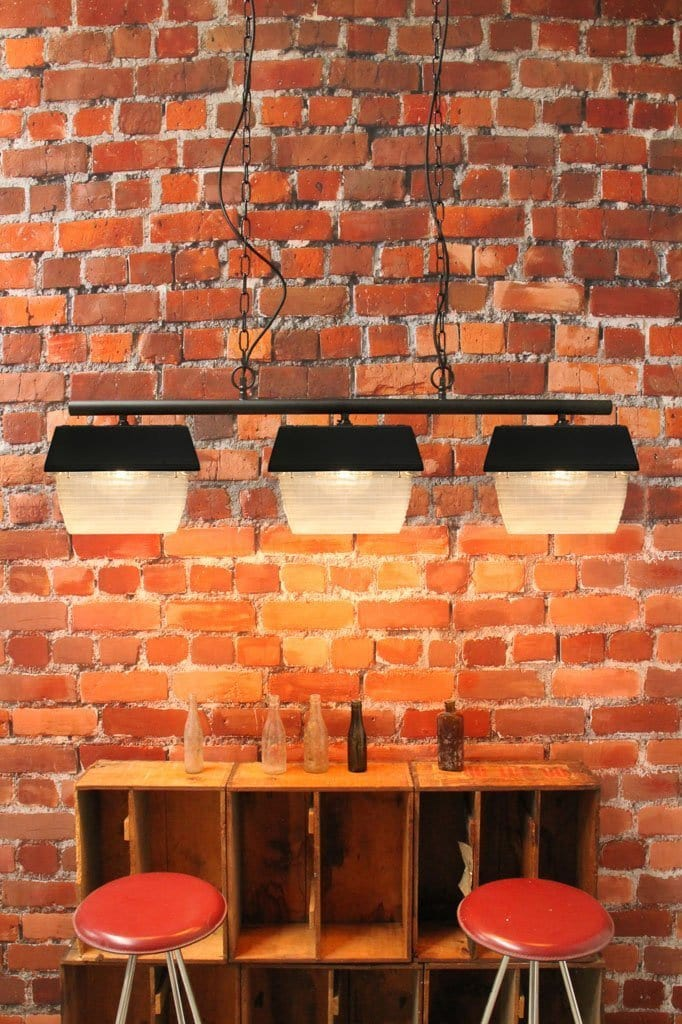 Three light pendant with poly square shades. industrial chain pendant. buy multi light pendants online