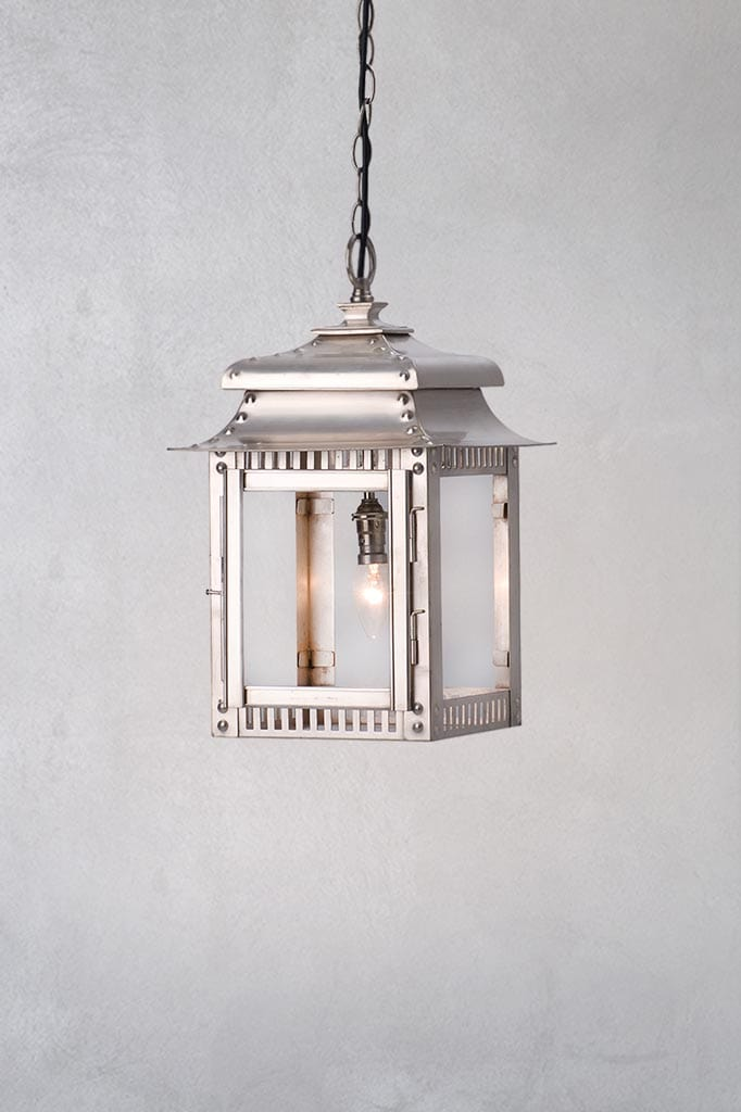 Traditional lantern pendant light in antique silver