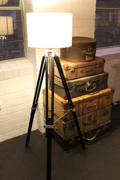 Tripod Floor Lamp - white Fabric Shade from Fat Shack Vintage 11602757-9e4c-4e2e-8d0a-4204f382d8f0