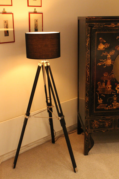 Tripod Lamp - Fabric Shade in black e3bb79e8-897b-45bf-b42f-a818b83eb423