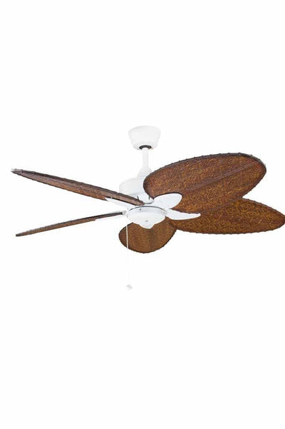 Tropical windpointe ceiling fan with narrow blades white motor and bamboo shades