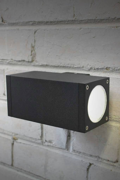 Twin box exterior wall light that uses led bulb or hallogen bulbs