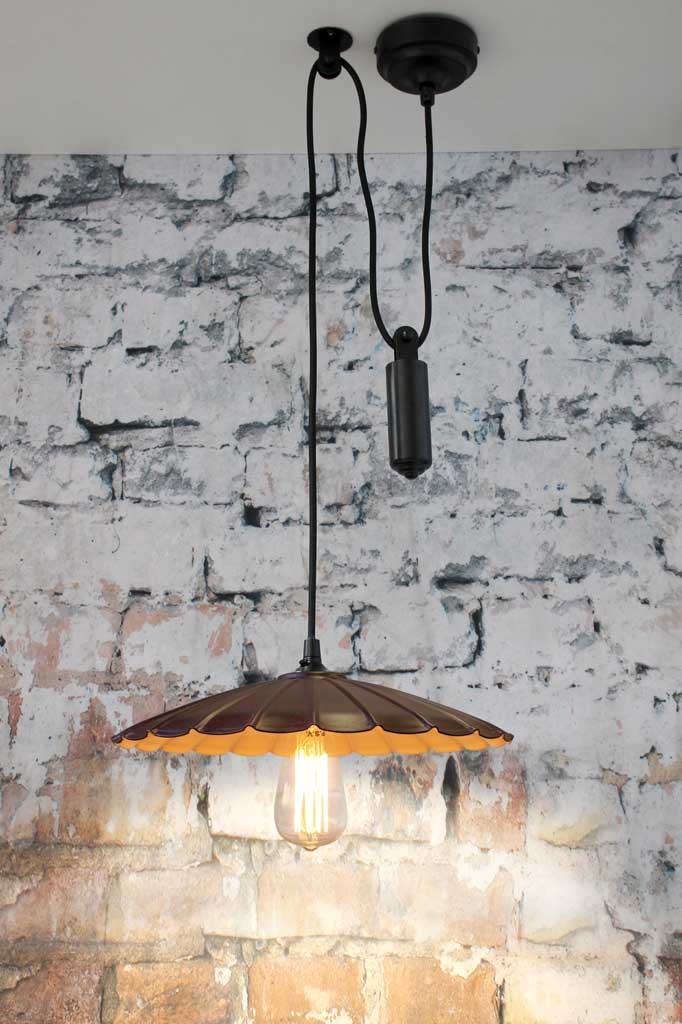 Pulley pendant light with umbrella shade