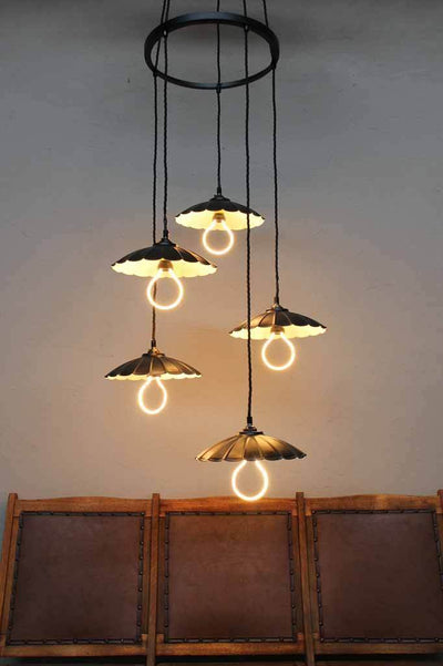 Unique chandelier pendant. hanging cluster light. unique led halo bulbs