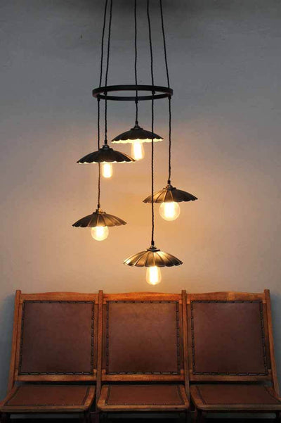 Unique hoop pendant light. vintage scalloped light shade.