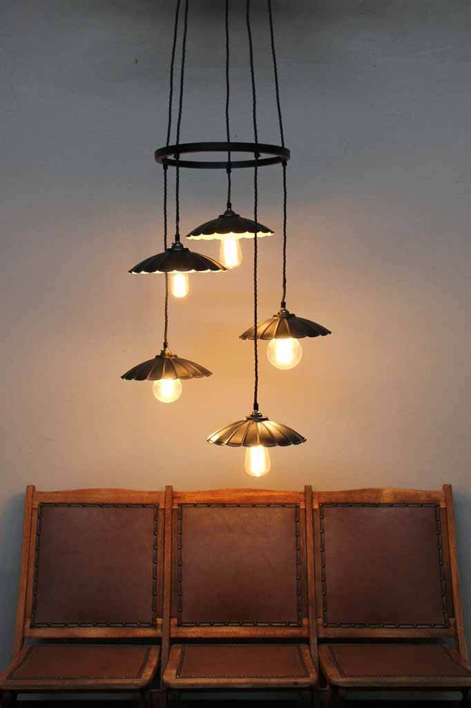 Vintage Umbrella Hoop Cluster Light