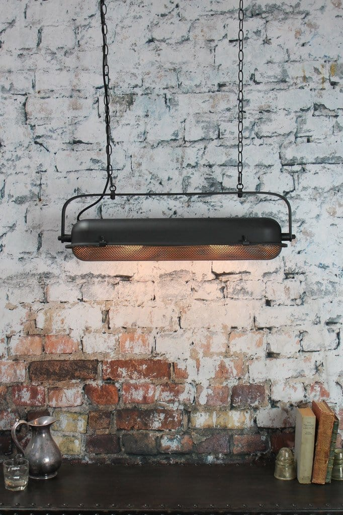 Urban industrial lighting design constructed from heavy duty steel finished in matt black