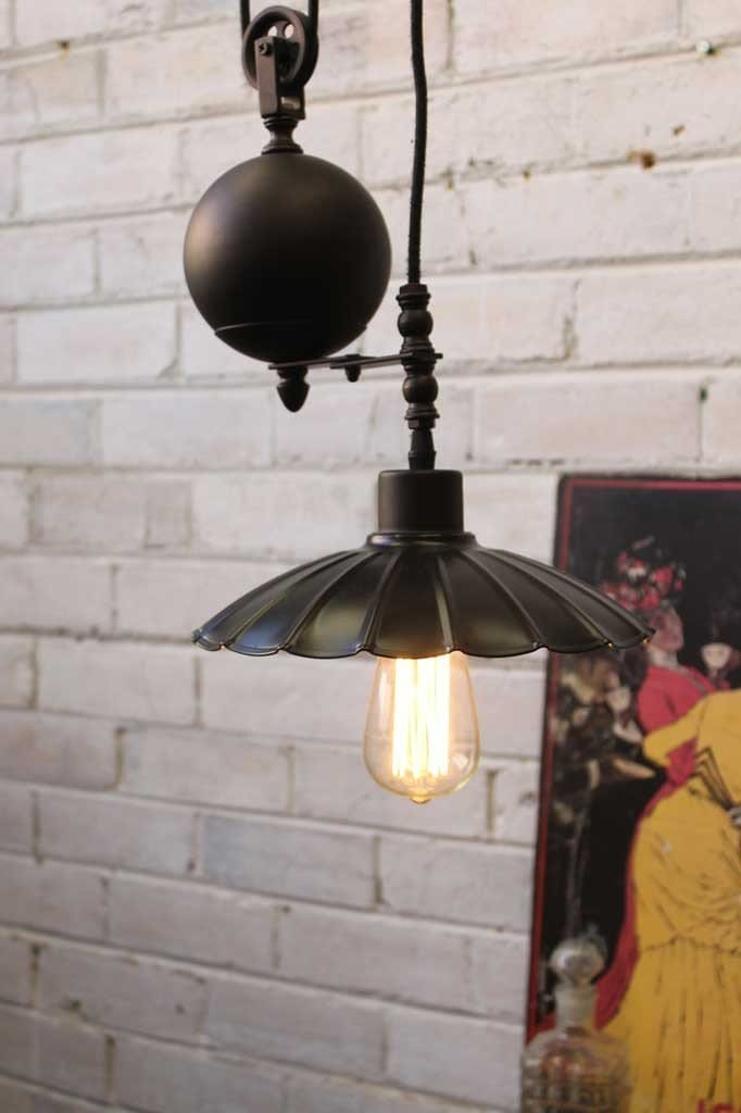 Vintage industrial pulley light small black umbrella shade with no zinc cage