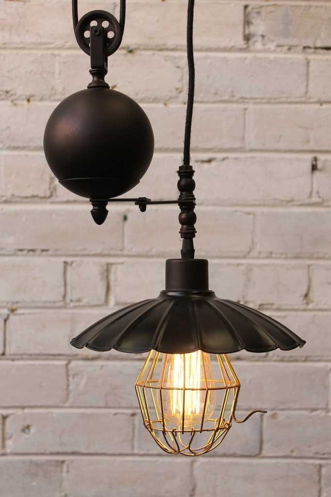 Vintage Umbrella Industrial Pulley Light