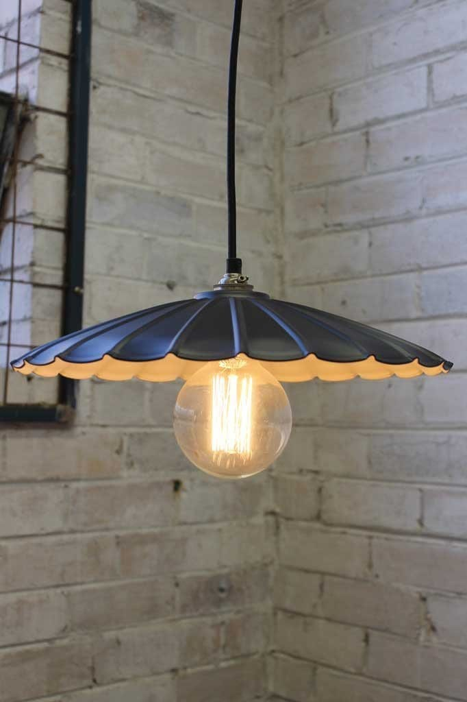 Vintage umbrella pendant light matt black painted rust finish