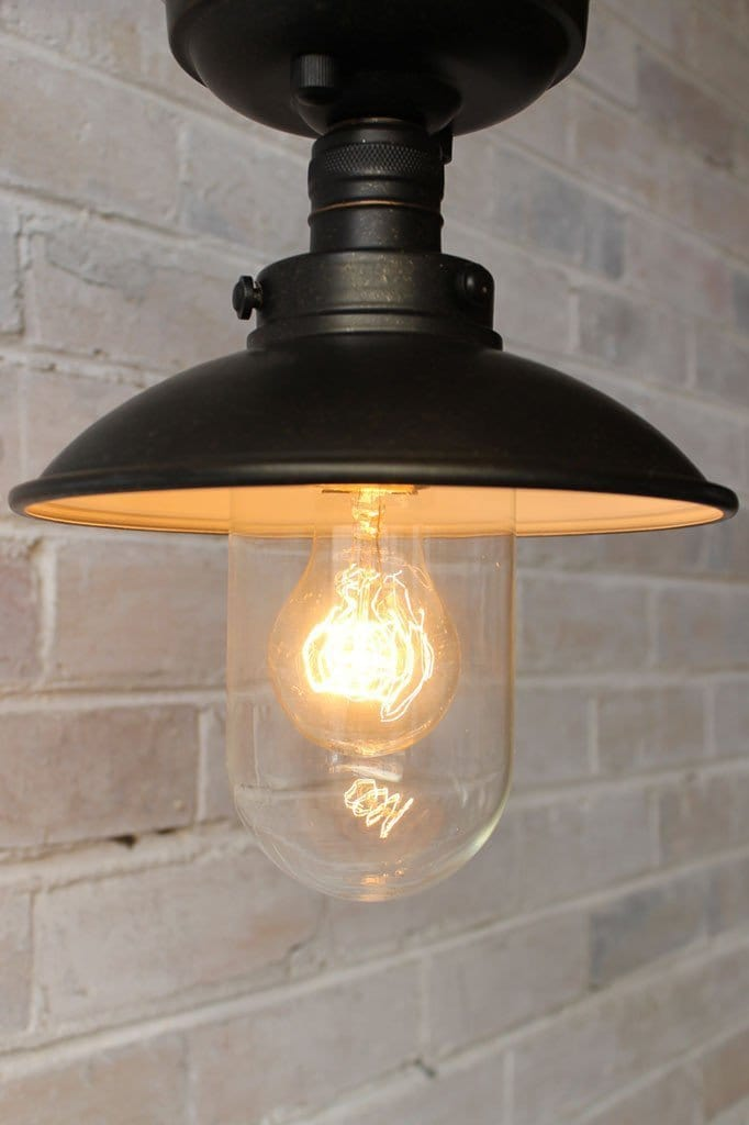 Vintage flush mount with edison quad loop bulb