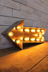 Vintage marquee lights arrow natural metal with led bulbs