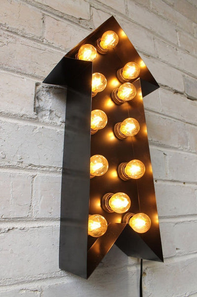 Vintage marquee lights arrow in matt black
