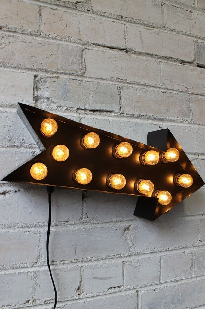 Vintage marquee lights arrow black with leds