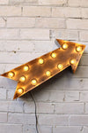 Vintage marquee lights arrow in natural metal with led bulbs