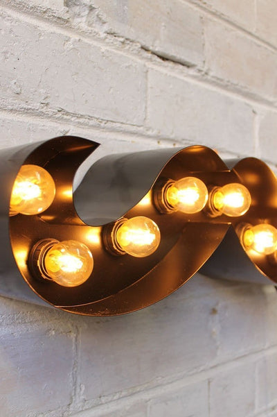 Vintage marquee lights moustache in black with led bulbs