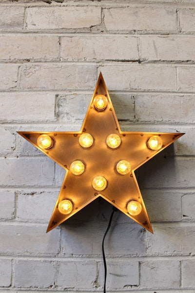 Vintage Marquee Lights star shape in natural metal finish 82f5207f-f9aa-43bf-b5e2-b288c85ca4cf