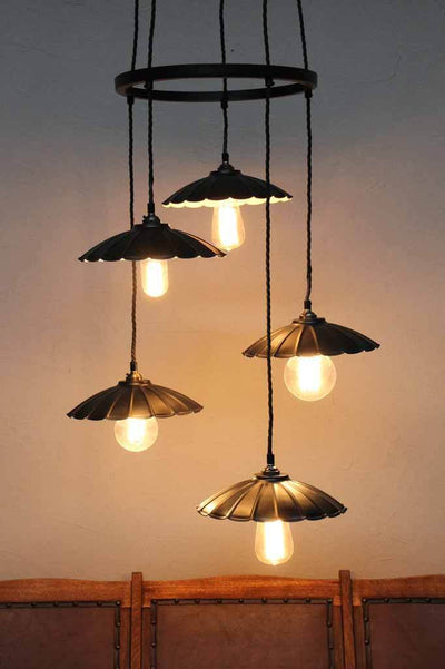 Vintage pendant cluster. two shade finishes rusty and matt black. available in two sizes three drop or five drop cluster