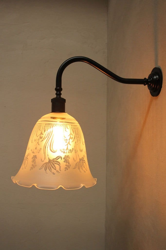 Vintage style wall lights. acid etched decorative scalloped edge glass bell shade gooseneck wall sconce