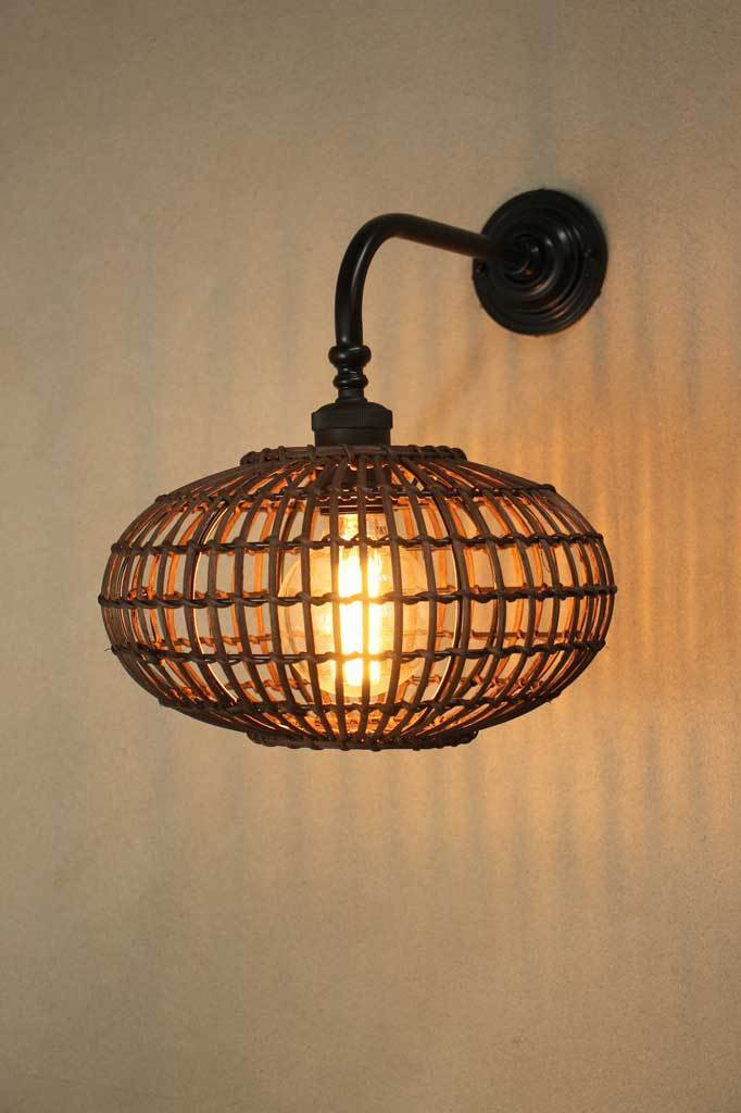 W254 urban boho wicker shade vintage wall light front on exposed bulb 2