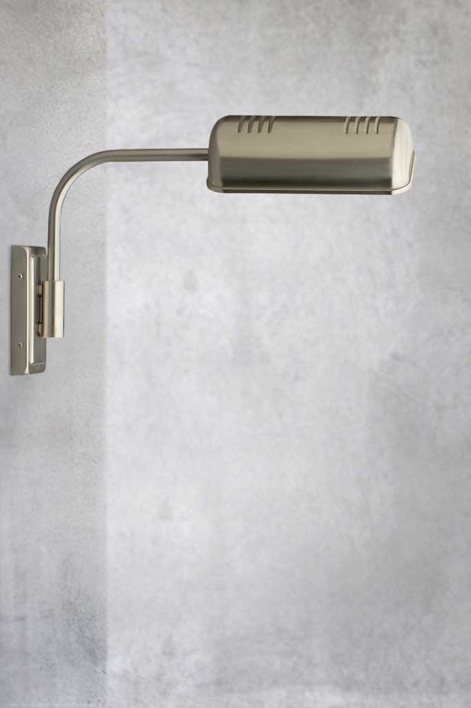 wall light with satin nickel finish