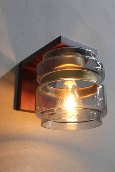 Wall Light with edison light bulb and wooden sconce