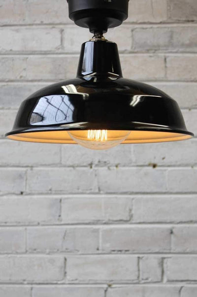 Warehouse close to ceiling lights black shade