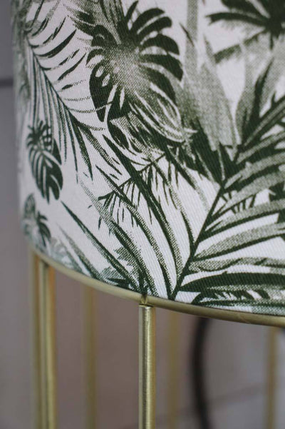 White tropical floor lamp with brush brass bass