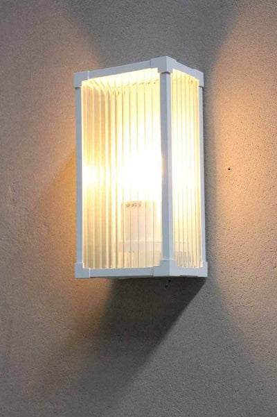 White die cast aluminium light frame. outdoor wall light. coastal living decor