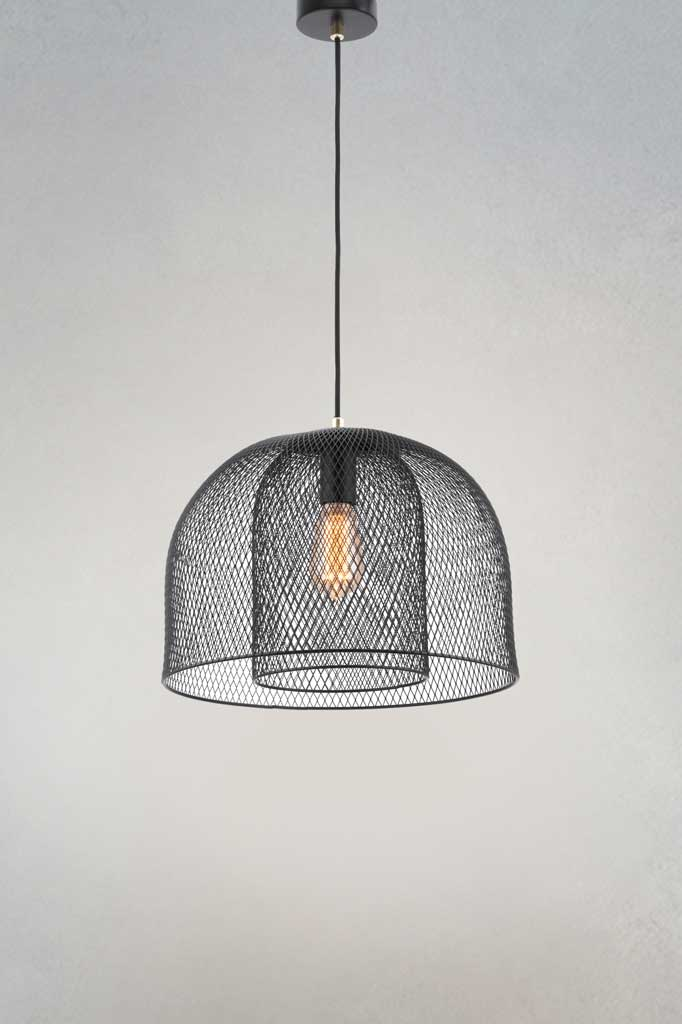 Wire mesh pendant light in matt black finish