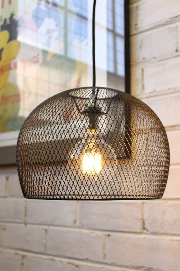 Black Basket Pendant Light Steel Wire Shade Fat Shack Vintage