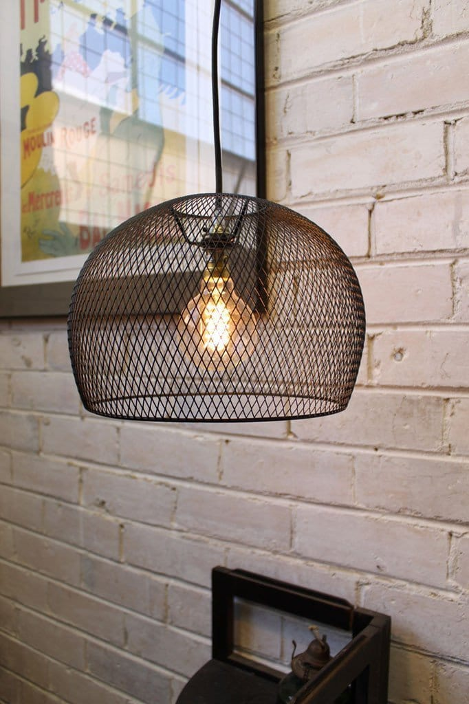 Wire basket pendant light with sprial round bulb